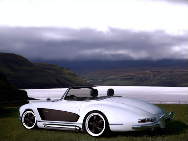 Modern take on the Mercedes 300 SL Roadster